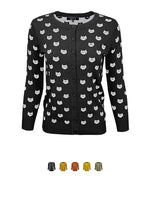 Women's Cute Cat Patterned 3/4 Sleeve Button Down Stylish Cardigan Sweater MK3466
