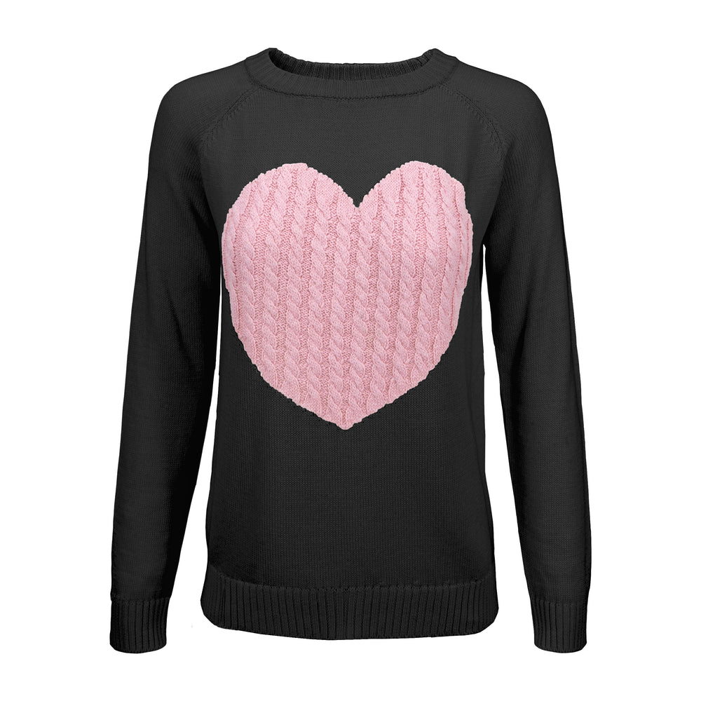Womens Love Heart Rounded Neck Long Sleeve Warm Pullover Sweater MK3506 - Pullover Sweater