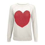 Women's Love Heart Rounded Neck Long Sleeve Warm Pullover Sweater MK3506