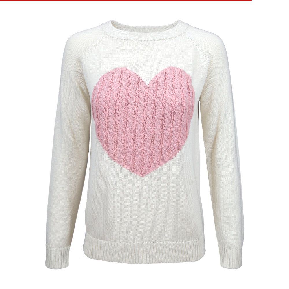 YEMAK Women's Long Sleeve Crewneck Cute Heart Cable Knit Pullover Sweater MK3506 (S-L)