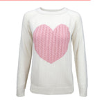 Women's Love Heart Rounded Neck Long Sleeve Warm Pullover Sweater MK3506 - Yemak Sweater