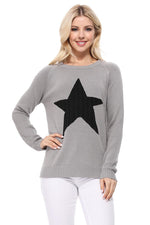 YEMAK Women's Pullover Sweater Long Sleeve Crewneck Cute Star Cable Knit MK3506 STAR (S-L)