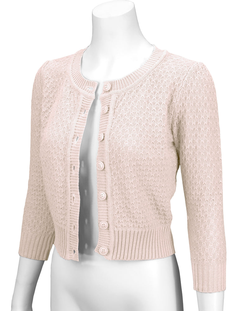Cute Pattern Cropped Daily Cardigan Sweater Vintage Inspired Pinup MK3514PL (1X-3X) - Cardigan