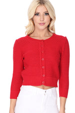YEMAK Women's Cute Pattern Cropped Daily Cardigan Sweater Vintage Inspired Pinup MK3514 (S-XL)
