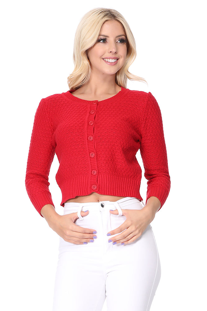 Cute Pattern Cropped Daily Cardigan Sweater Vintage Inspired Pinup MK3514PL (1X-3X)