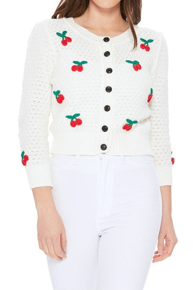 YEMAK Women's Cherry Pom Pom 3/4 Sleeve Cropped Honeycomb Knit Cardigan Sweater MK3515 (S-L)