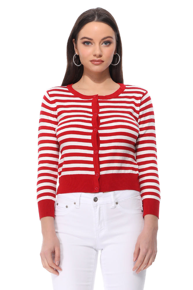 Yemak Women's 3/4 Sleeve Crewneck Striped Sweater Cardigan MK3521