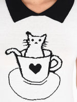 Pointed Collar Cat Tea Cup Short Sleeves Casual Pullover Sweater MK3591CAT - Pullover