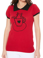 YEMAK Women's Pointed Collar Cat Tea Cup Short Sleeve Pullover Sweater MK3591CAT (S-L)