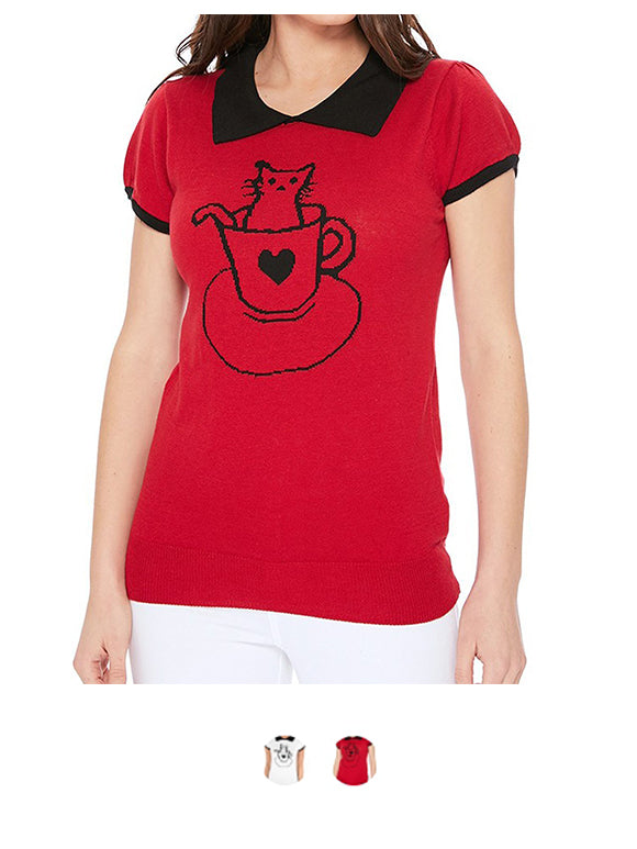Pointed Collar Cat Tea Cup Short Sleeves Casual Pullover Sweater MK3591CAT