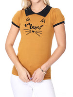 YEMAK Women's Meow Cat Classic Contrast Collar Short Sleeve Casual Pullover Sweater MK3591MEOW (S-L)