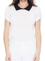 Ivory Black Vintage Classic Collar Short Sleeve Sweater