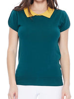 Peacock Honey Vintage Classic Collar Short Sleeve Sweater