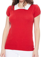 Red Vintage Short Sleeve Sweater