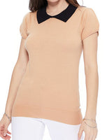 Tan Black Vintage Classic Collar Sweater
