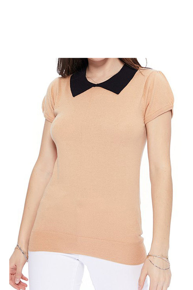 YEMAK Women's Classic Contrast Collar Short Sleeve Knit Pullover Sweater MK3591