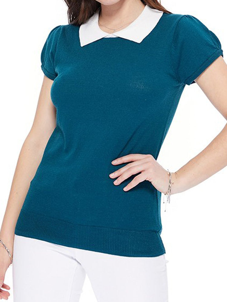 Classic Collar Short Sleeves Stretchy Fabric Casual Pullover Sweater MK3591 - Pullover