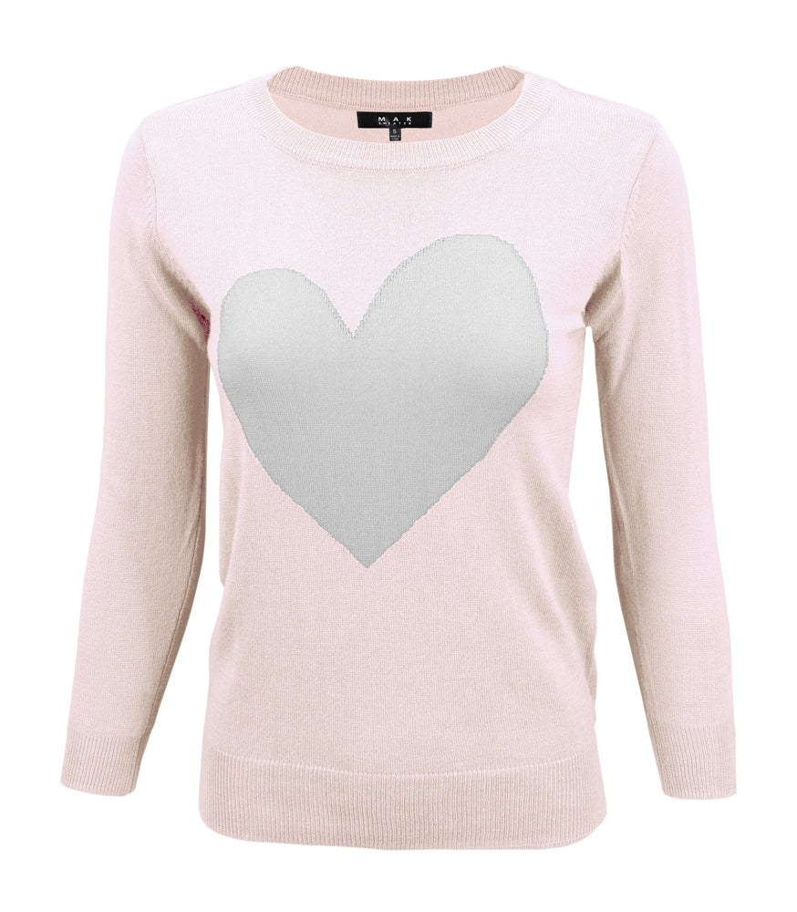 Womens Love Heart Chenille Round Neck 3/4 Sleeve Casual Sweater MK3595 - Pullover