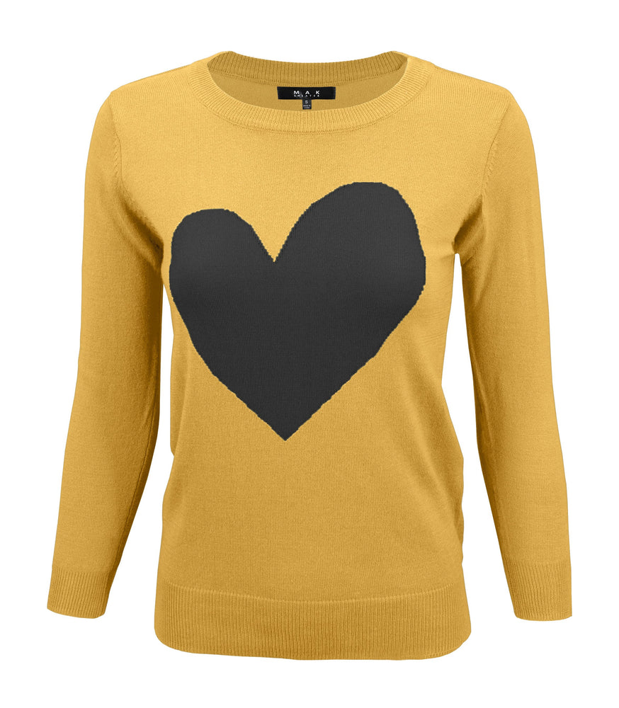 Women's Love Heart Chenille Round Neck 3/4 Sleeve Casual Sweater MK3595