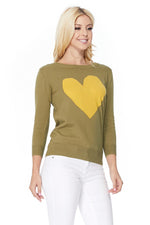 YEMAK Women's Love Heart Chenille Crewneck 3/4 Sleeve Casual Pullover Sweater MK3595