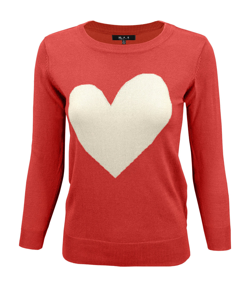 Womens Love Heart Chenille Round Neck 3/4 Sleeve Casual Sweater MK3595 - Large / Tomato/Oatmeal - Pullover
