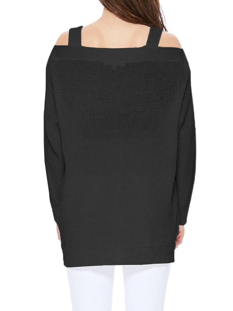 Long Sleeves Cold Shoulder Hip Length Stylish Casual Pullover Sweater MK3631 - Pullover