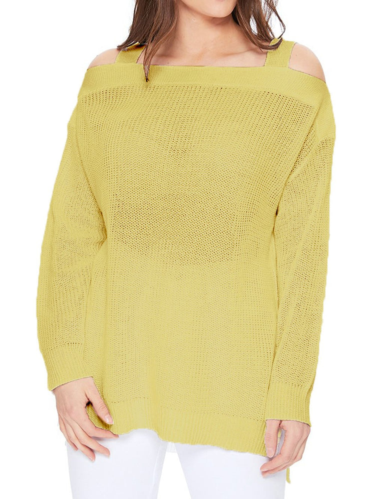 Long Sleeves Cold Shoulder Hip Length Stylish Casual Pullover Sweater MK3631