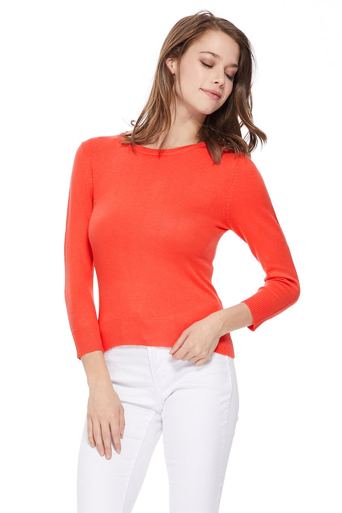 YEMAK Women's 3/4 Sleeve Crewneck Lightweight Basic Casual knit Pullover Sweater MK3636 (S-XL)