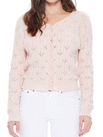 Vintage Lace Patterned V-Neck Long Sleeves Scallop Hem Casual Cardigan MK3659 - Cardigans-Sweaters