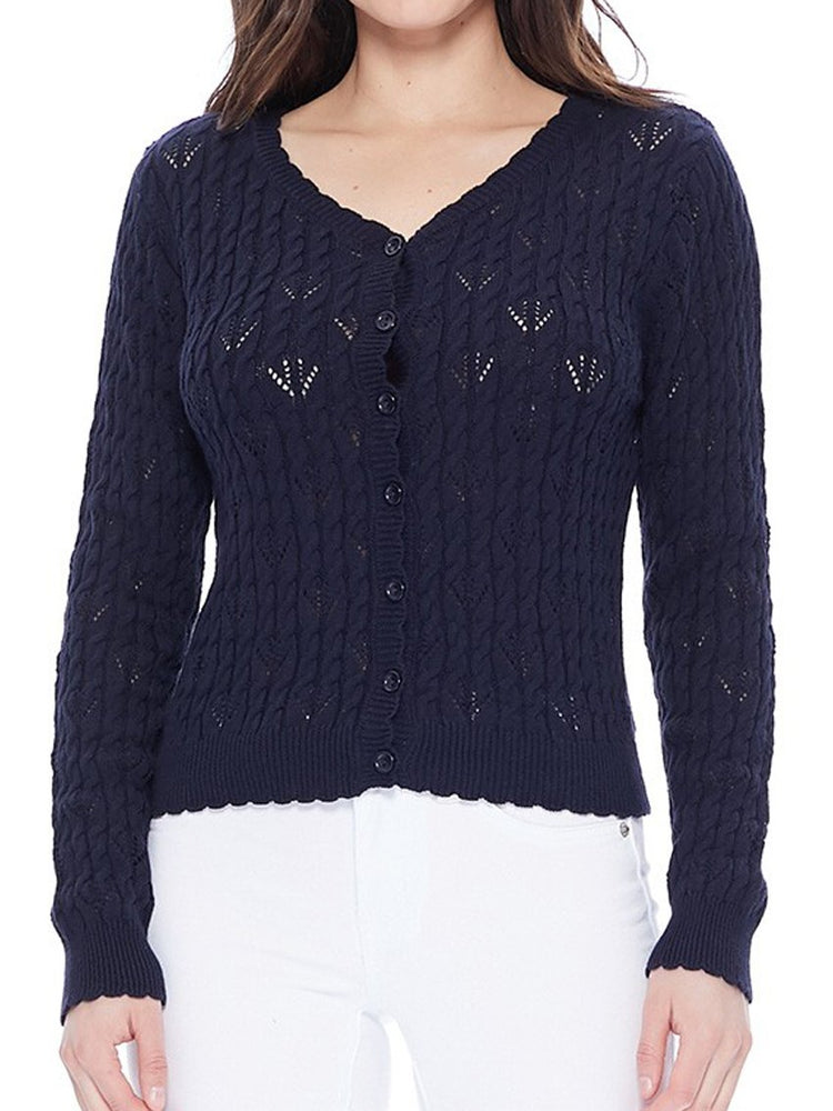 Women's Navy Lace Cardigan Sweater