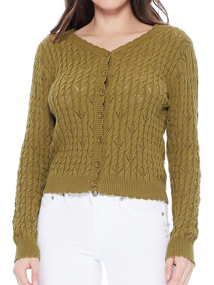 Women's Sage Green Lace Cardigan Sweater