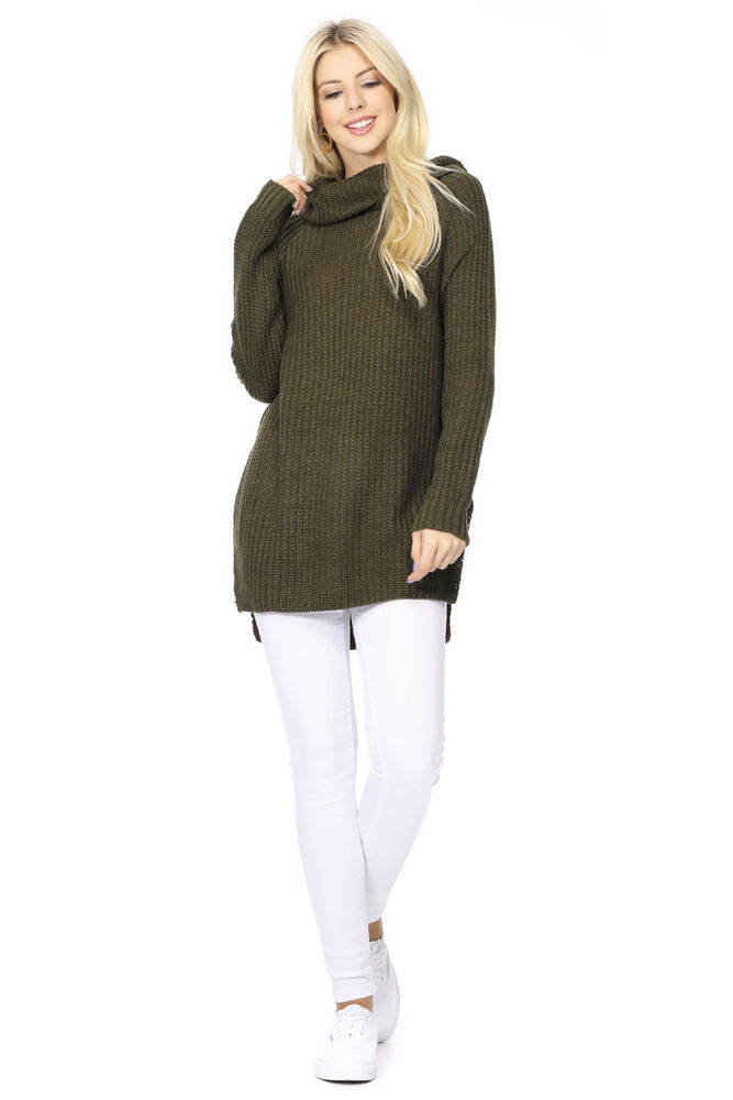 YEMAK Women's Casual Textured Long Sleeve Turtleneck Pullover Tunic Sweater MK3660 (S-L)