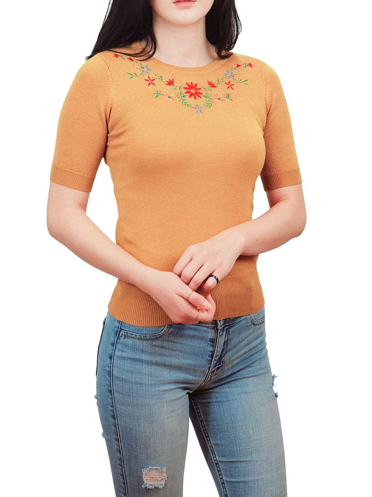 YEMAK Women's Daisy Flower Embroidered Crewneck Casual Knit Pullover Sweater MK3664EMBO (S-L)