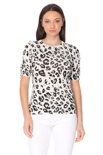 YEMAK Women's Crewneck 1/2 Sleeve Leopard Print Casual Knit Pullover Sweater MK3664LEO