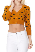 YEMAK Women's Cropped Cute Dog Patterned 3/4 Sleeve Button Down Cardigan Sweater MK3672 (S-L)