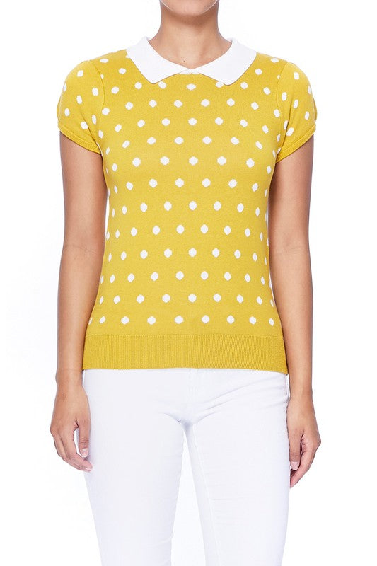 YEMAK Women's Classic Polka Dot Contrast Collar Short Sleeve Casual Pullover Sweater MK3673