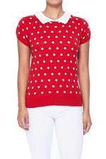 Red / Ivory Vintage Style Polka Dot Pullover Sweater