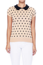 Tan / Black Vintage Style Polka Dot Pullover Sweater