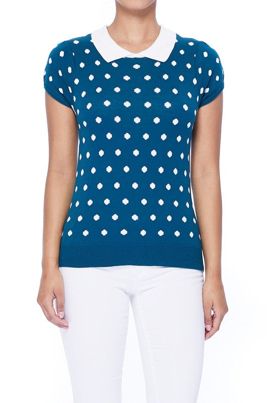 Teal Blue / Ivory Vintage Style Polka Dot Pullover Sweater