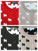 YEMAK Women's Cute Dog Patterned 3/4 Sleeve Crewneck Button Down Cardigan Sweater MK3675 (S-L)