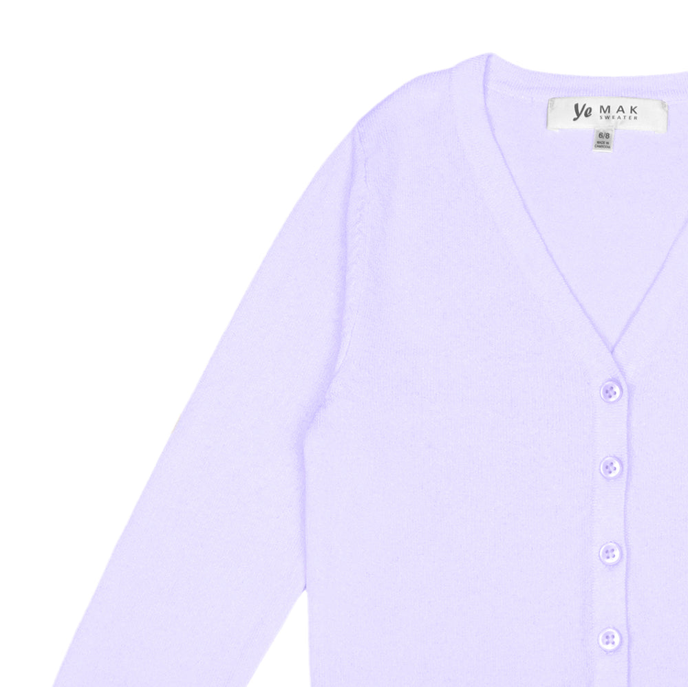 YEMAK Girl's Long Sleeve V-Neck Button Down Soft Knit Casual Cardigan Sweater MK5178KID (2/4, 6/8, 10/12)