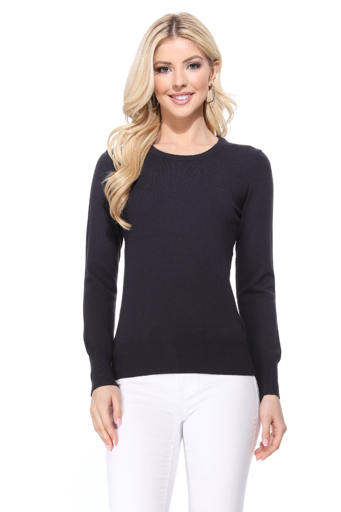 YEMAK Women's Crewneck Long Sleeve Pullover Soft Knit Top Sweater MK5500 (S-XL)