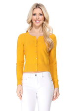YEMAK Women's Long Sleeve Crewneck Cropped Button Down Cardigan Sweater MK5502 (S-XL)