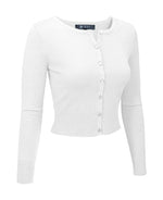 YEMAK Women's Cropped Crewneck Long Sleeve Button Down Cardigan Sweater MK5502 (S-XL)