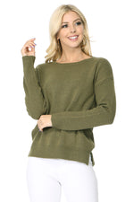 YEMAK Women's Long Sleeve Crewneck Lightweight Casual Soft Knit Pullover Sweater MK8015 (S-L)