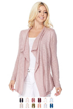 YEMAK Women's Long Sleeve Soft Sheer Slub Open Front Casual Cardigan Sweater MK8080