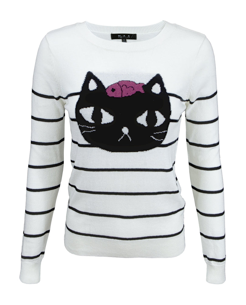 Adorable Black Cat Round Neck Stripe Patterned Casual Jacquard Sweater MK8097 - Pullover