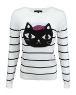 Adorable Black Cat Round Neck Stripe Patterned Casual Jacquard Sweater MK8097