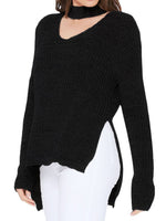 V-Neck Long Sleeves Side Slits Casual Loose Knit Pullover Sweater MK8143