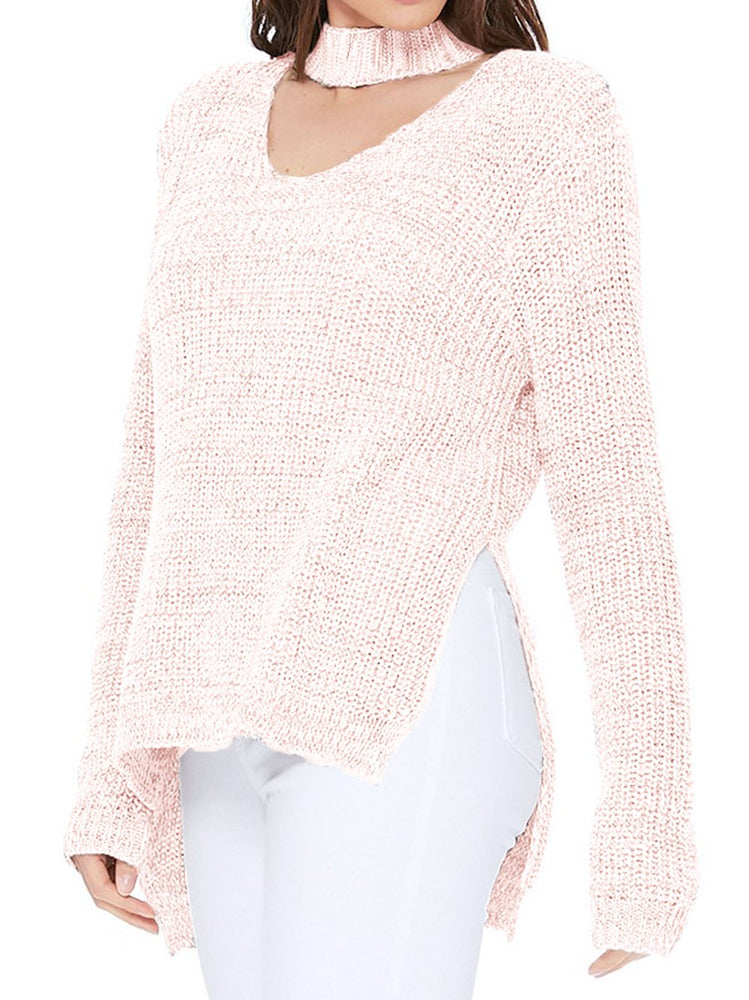V-Neck Long Sleeves Side Slits Casual Loose Knit Pullover Sweater MK8143 - Pullover